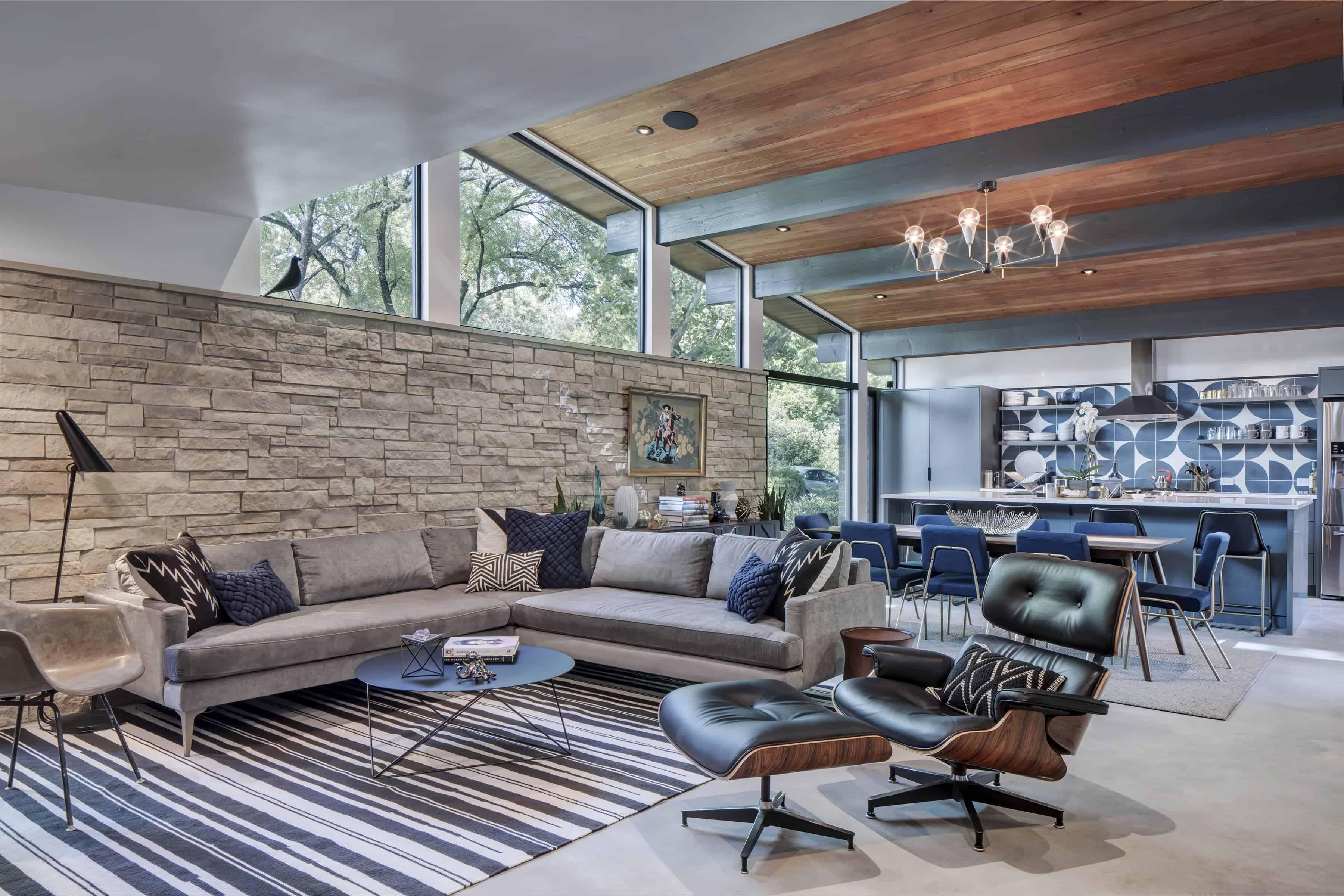 Living area in the Re-Open House designed by Matt Fajkus Architecture.
