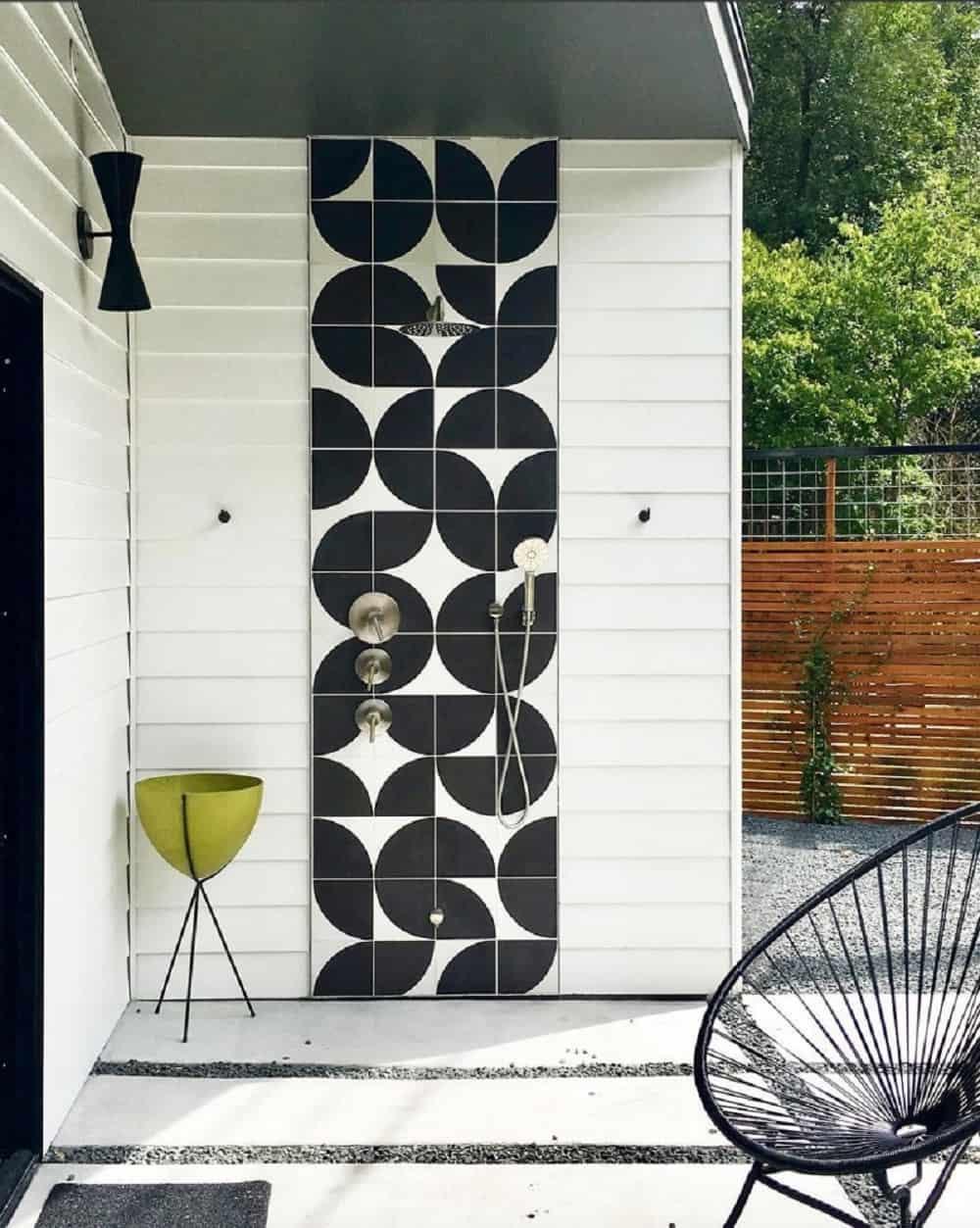 Shower area in the Re-Open House designed by Matt Fajkus Architecture.