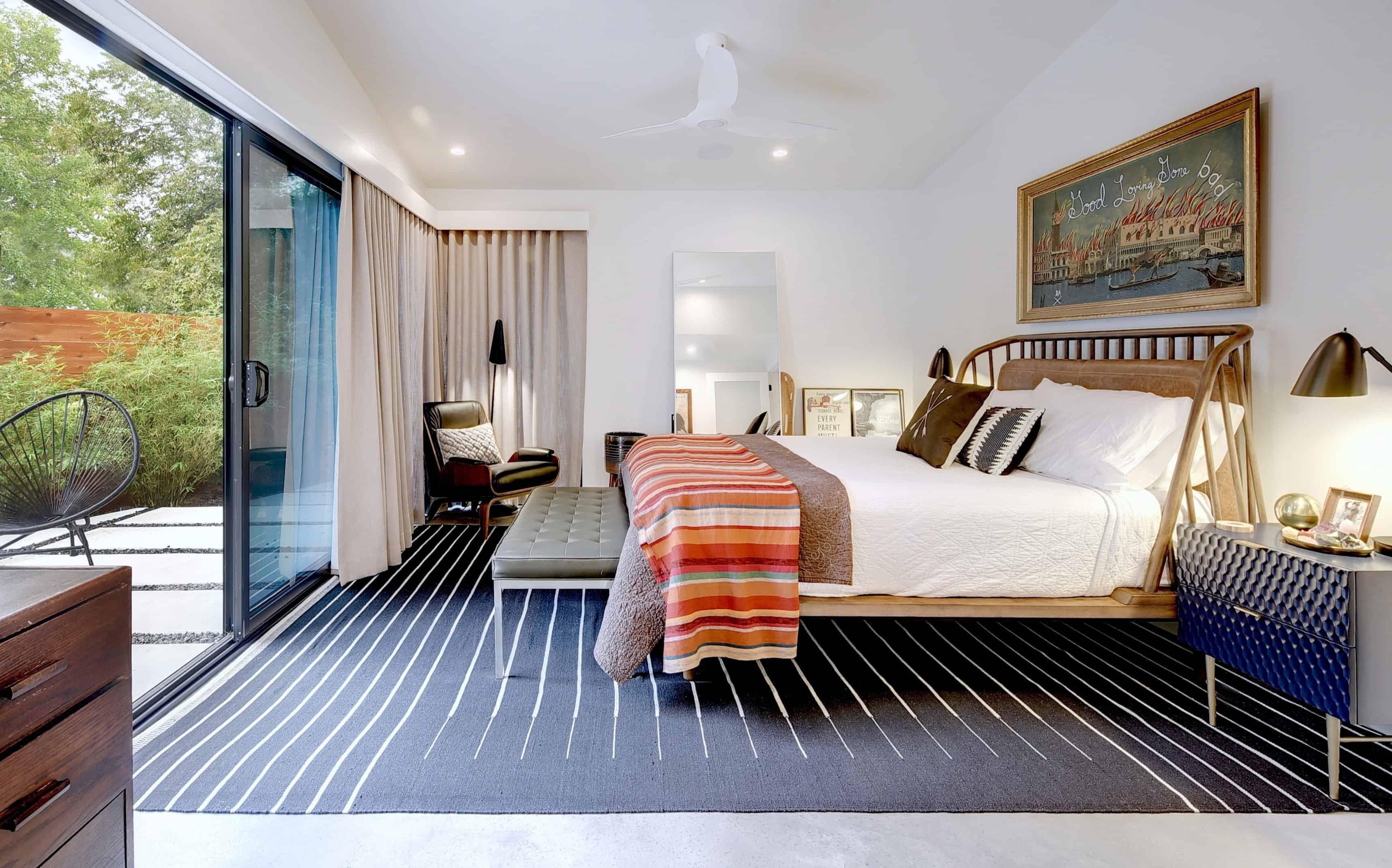 Bedroom in the Re-Open House designed by Matt Fajkus Architecture.