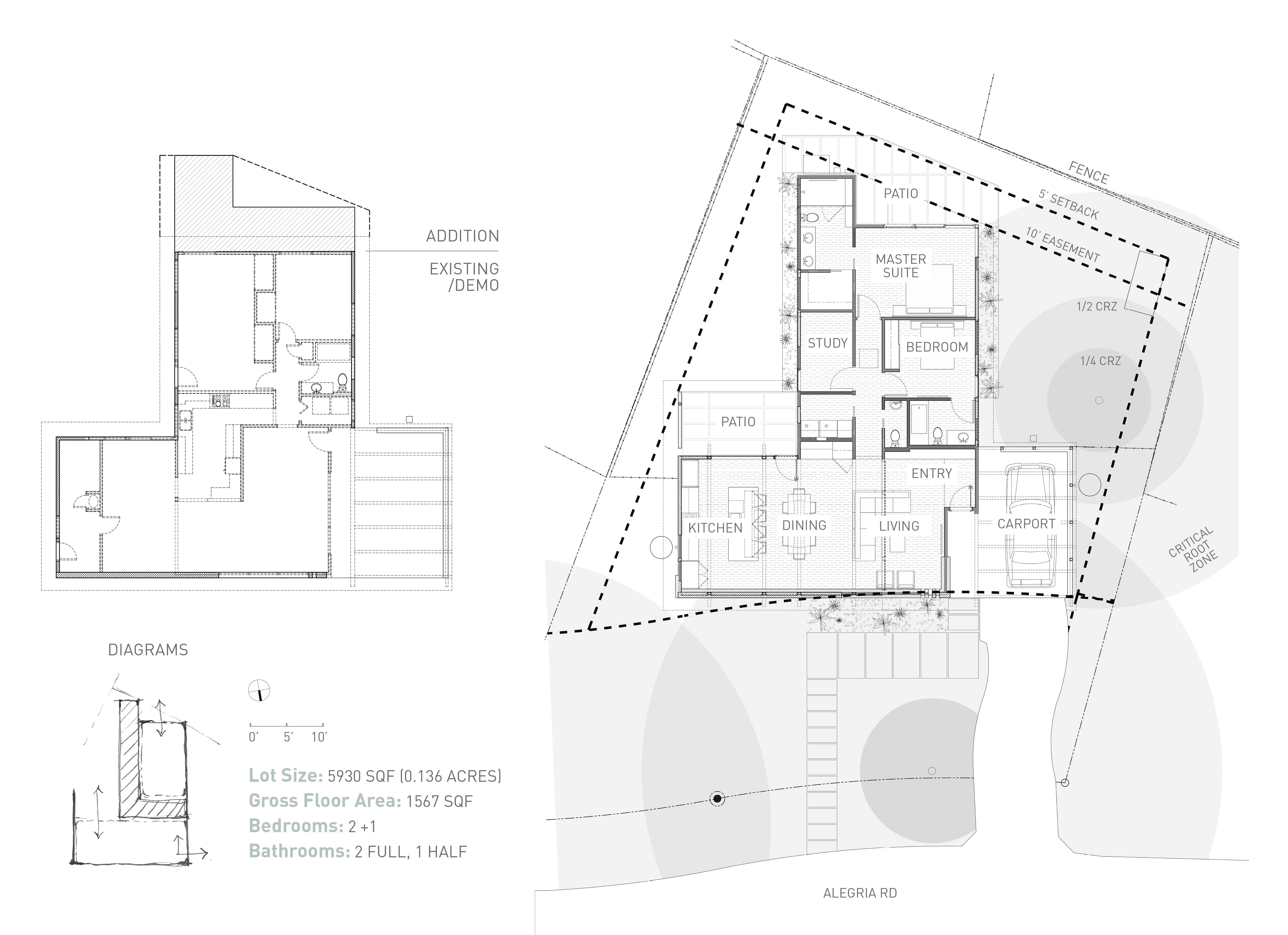House layout of the Re-Open House designed by Matt Fajkus Architecture.