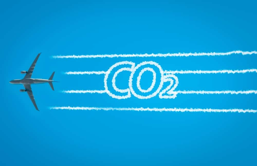 A visual representation of an airplane releasing CO2.