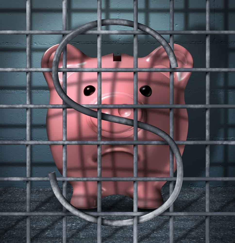 A visual representation of money or savings being trapped.