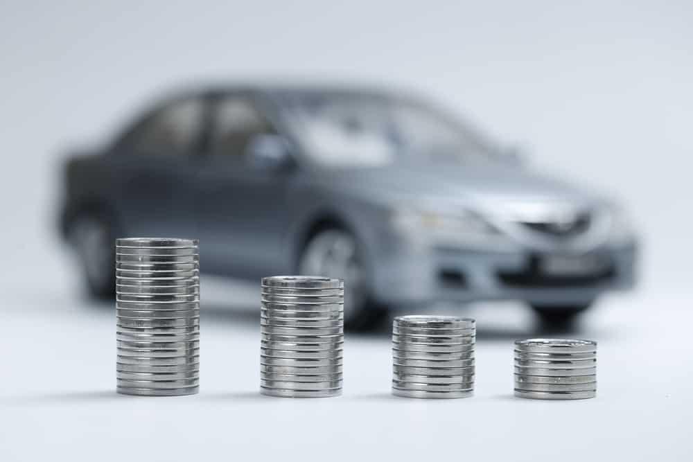 A visual representation of the depreciating value of a car.