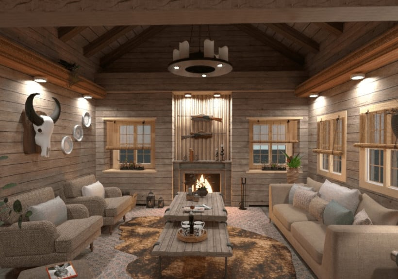 Living room designed by house design software
