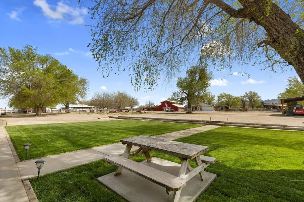 The garden area features well-maintained lawns with a picnic table on the side. Images courtesy of Toptenrealestatedeals.com.