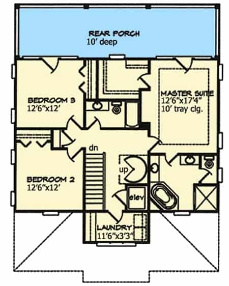 Second level floor plan of a beach house featuring a 10' deep rear porch, a laundry area, and the three bedrooms.
