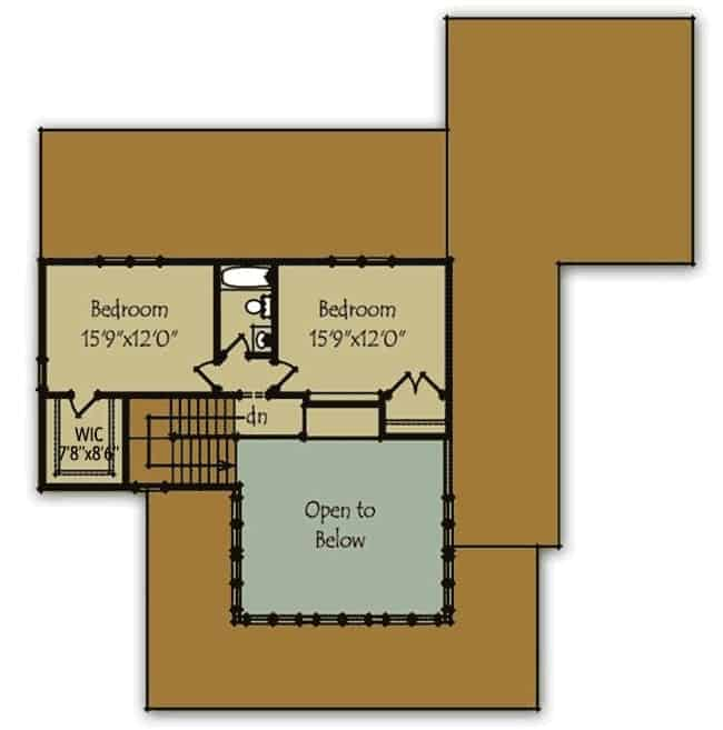 Second level floor plan of the farmhouse with two bedrooms on this level.