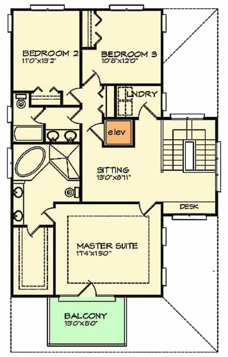 Second level floor plan of a country-style home with three bedrooms with private balconies.