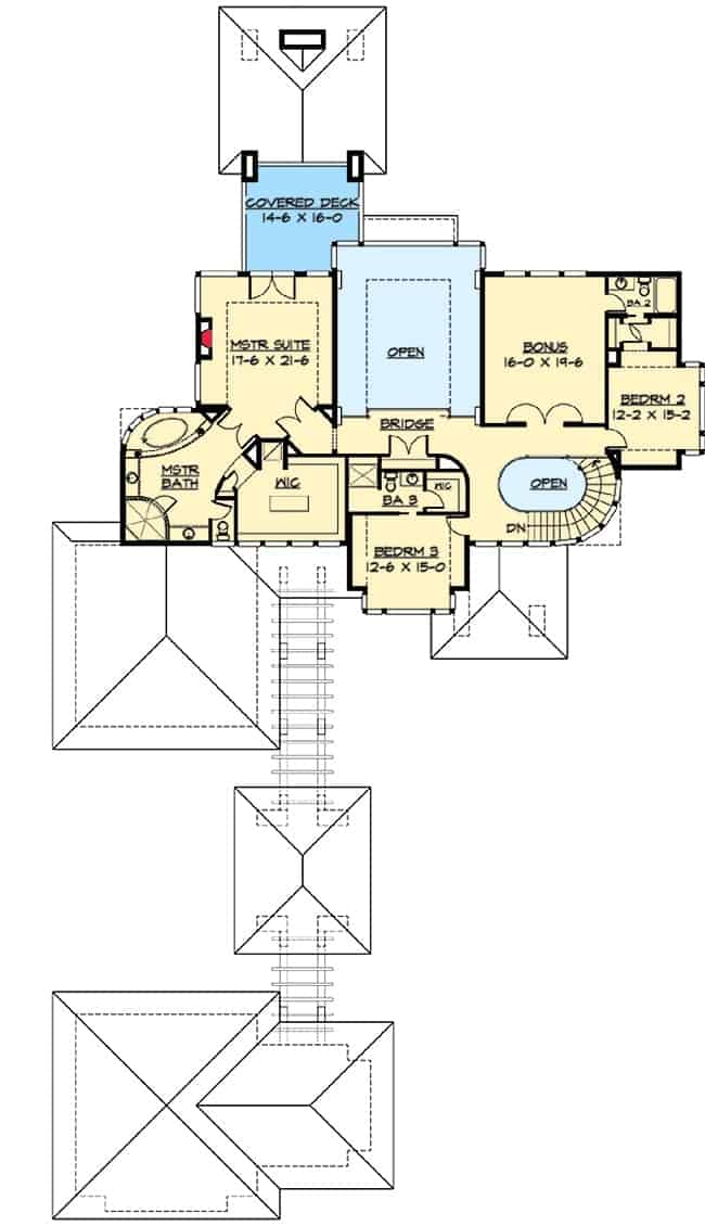 Second level floor plan with two bedrooms, a primary suite with its own covered deck and a huge bonus room with an access to the shared bathroom.