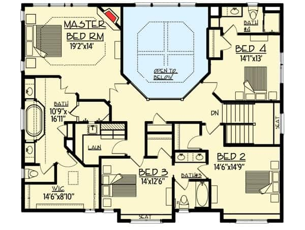 Second level floor plan with a primary suite, three additional bedrooms and a laundry room.