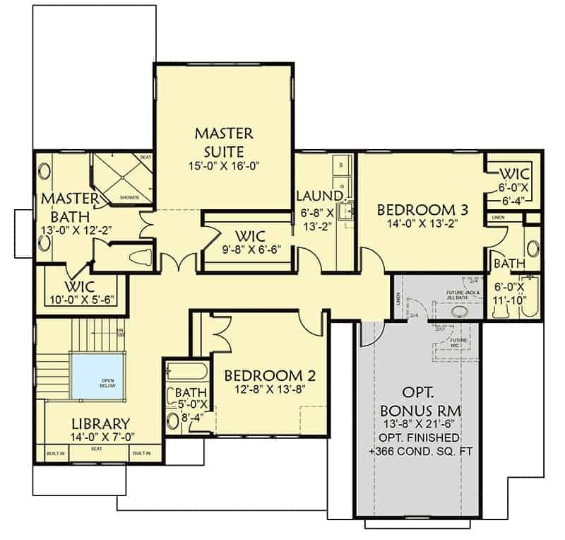Second level floor plan with three bedrooms with en-suite bathrooms, a library, and an optional bonus room over the garage.