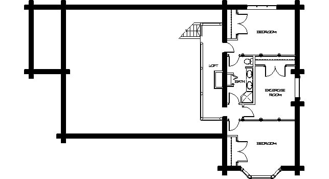 Second level floor plan with two bedrooms sharing a bathroom and an exercise room that can be turned into another bedroom.