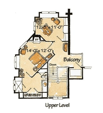 Second level floor plan with a private guest suite and a sitting room.