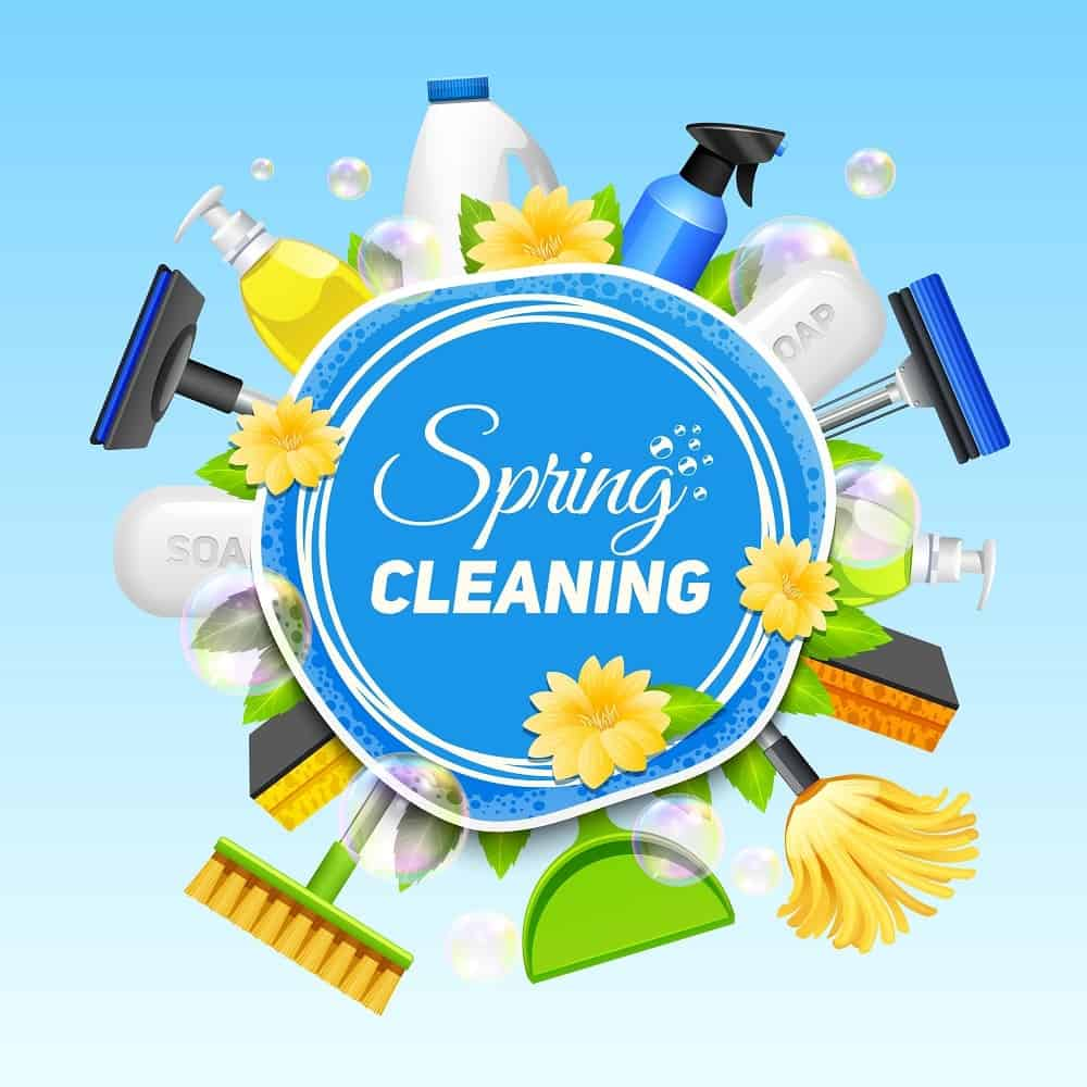 An artistic poster of various cleaning materials around a Spring Cleaning word art.