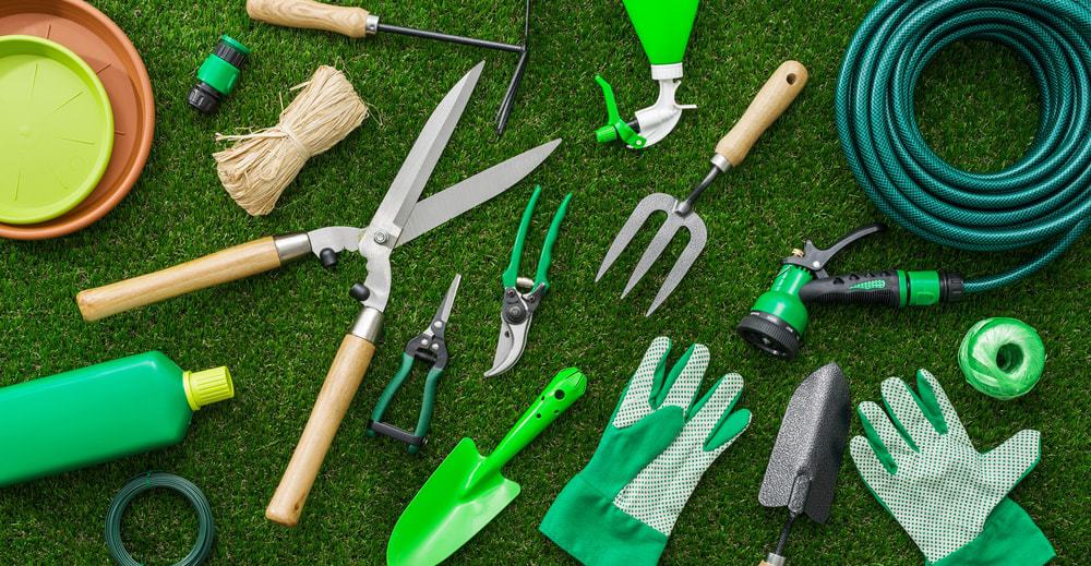 A bunch of gardening tools on a lush green lawn.