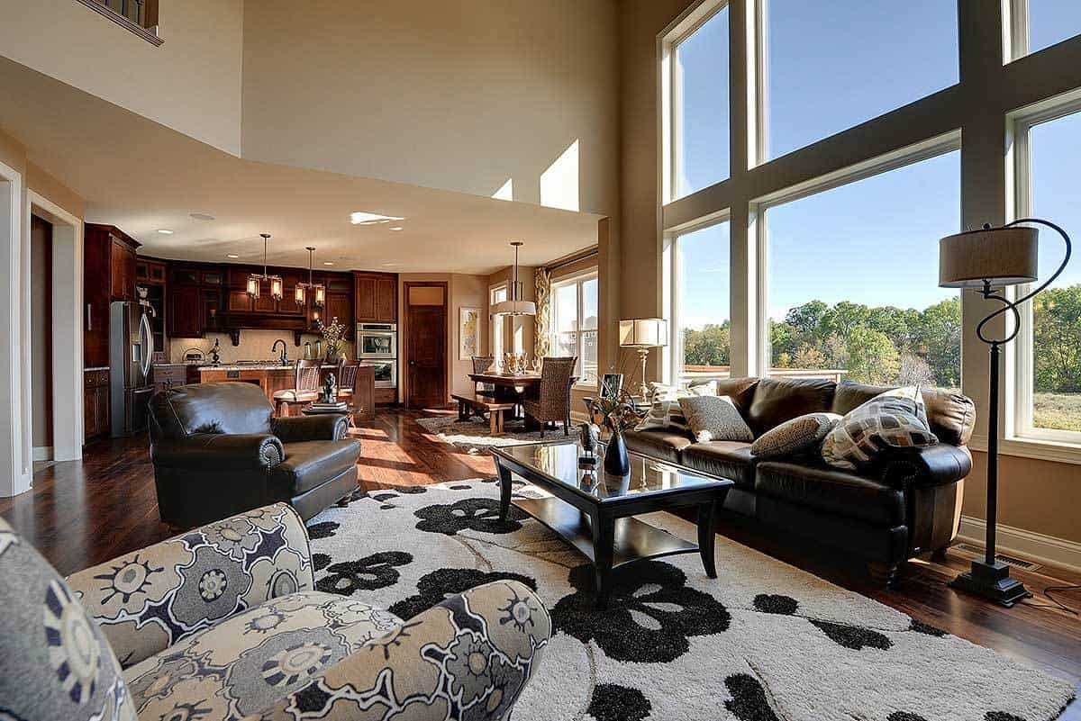 Open layout with the view of the spacious kitchen and dinette from the living room.