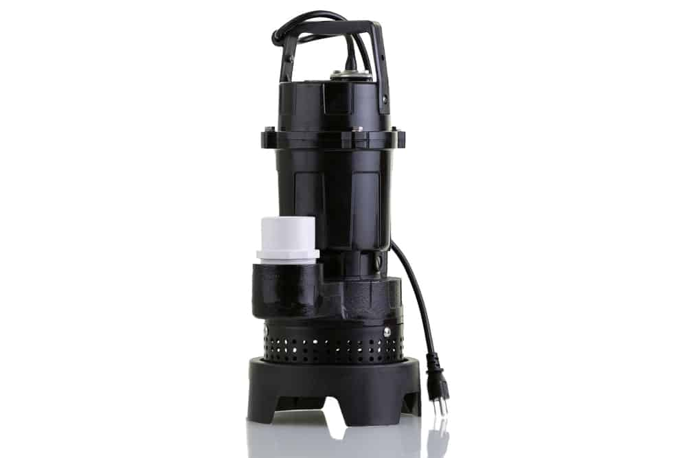 A sump pump for suctioning collected ground water.