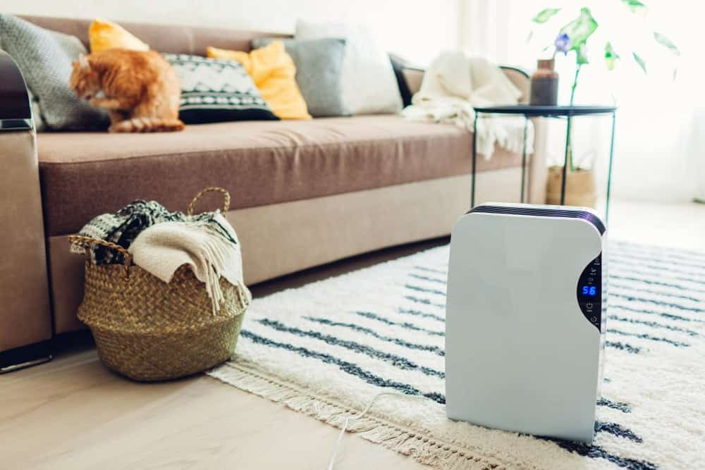 A living room with a modern dehumidifier with a touch panel.