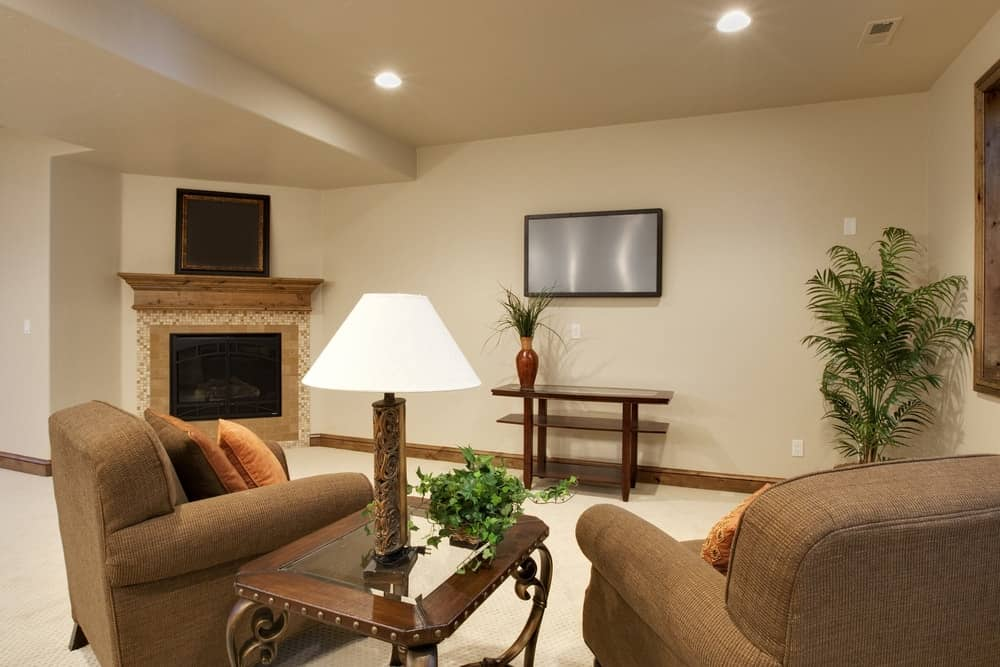 A simple and cozy basement with beige walls complemented by the potted plants.