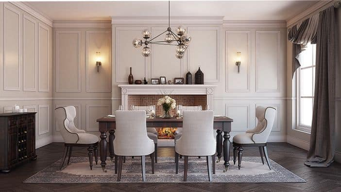 A beautiful dining room with gorgeous white moulding.