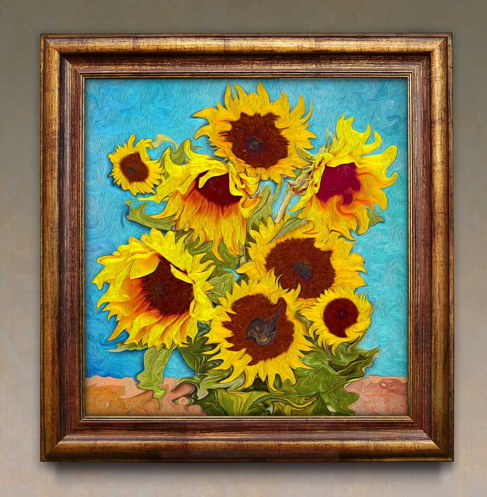A beautiful sunflower painting mounted on the gray wall.