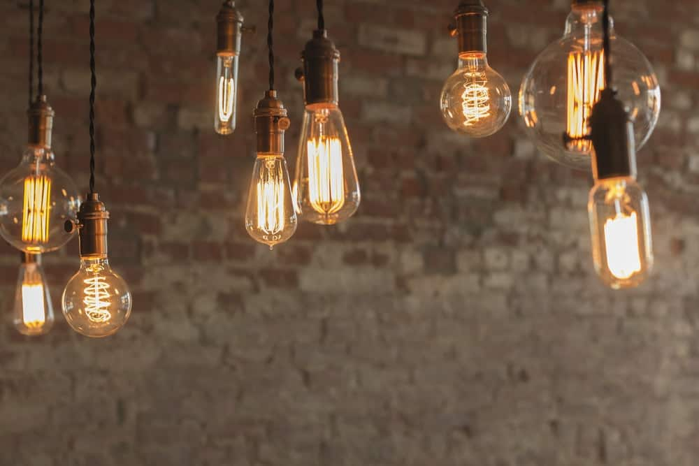 A set of various rustic hanging lightbulbs.