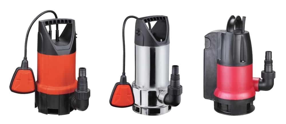 Different types of sump pumps.