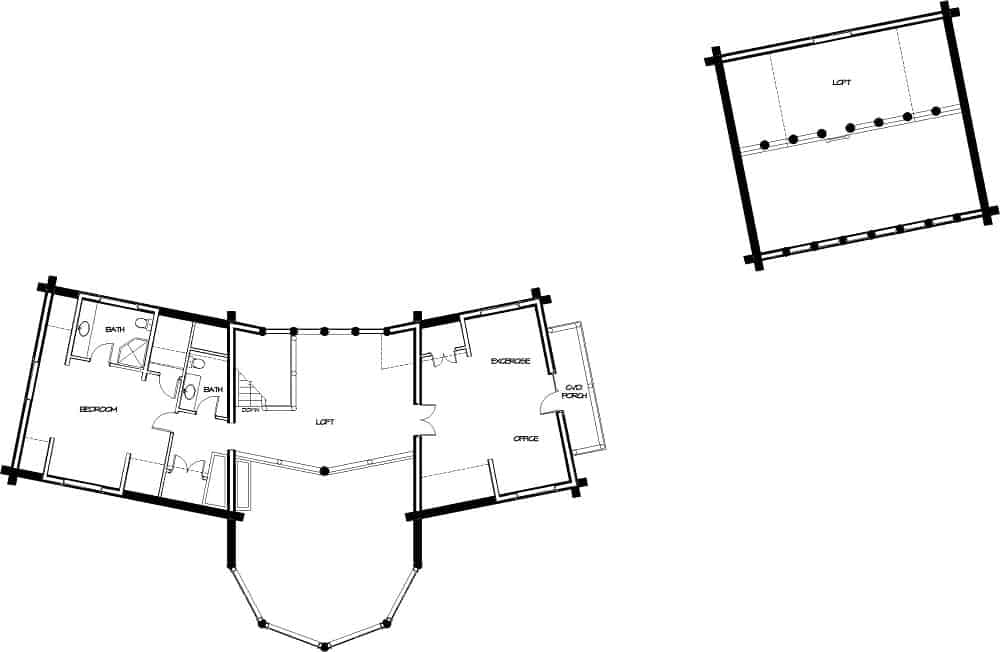 Upper level floor plan with a half bath, an open loft, bedroom with its own bathroom, exercise/office area with access to the covered porch, and a separate loft.