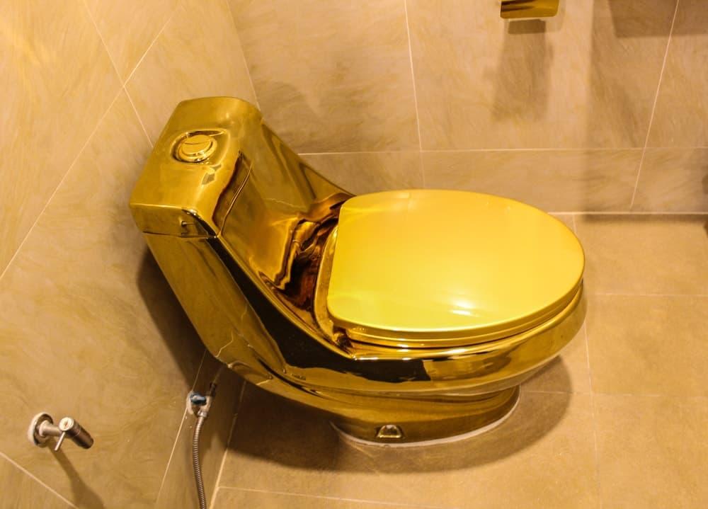 A shiny luxurious golden toilet bowl.