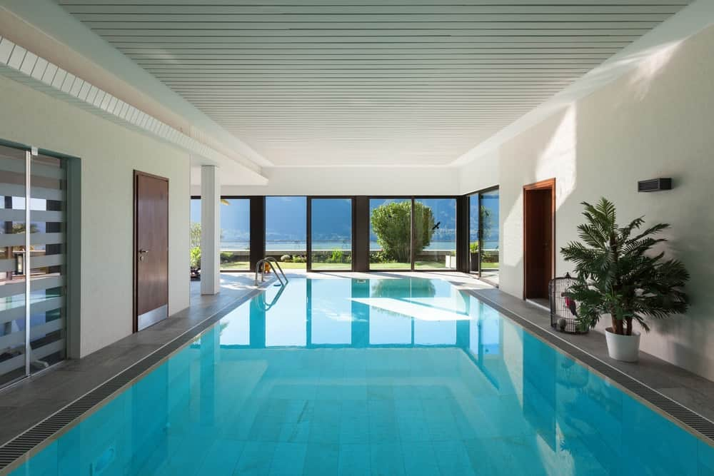 A large indoor pool with ample natural lighting.