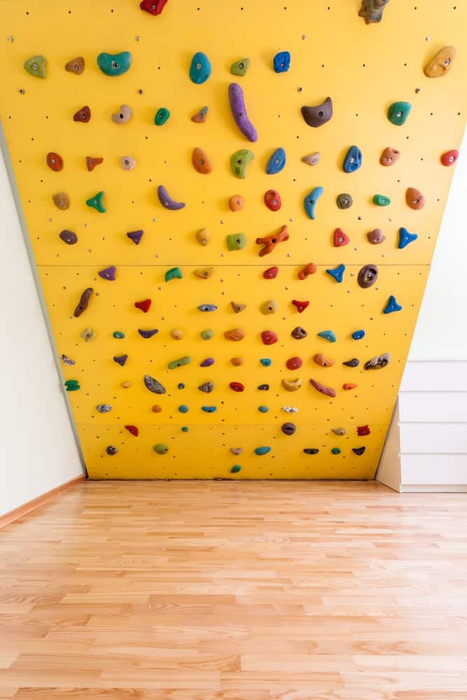 A colorful indoor climbing wall.
