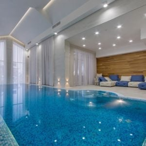 An extravagant and luxurious indoor pool.