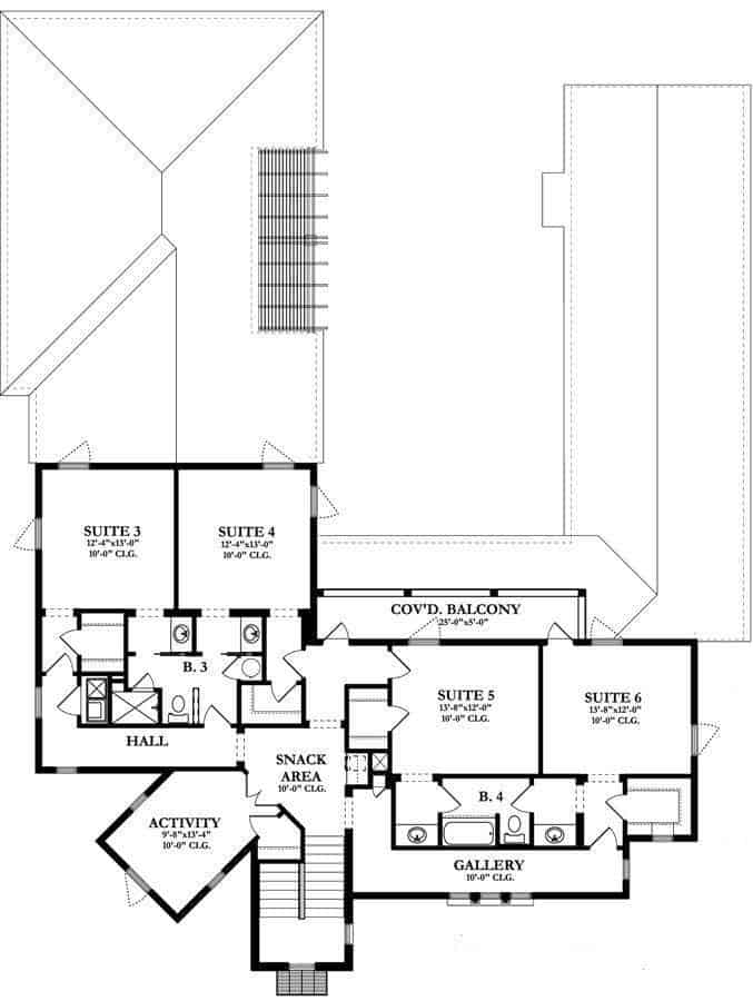 This is the second level floor plan starting from the stairs leading to the snack area, activity room and the various suites wherein you can see a couple that has access to the large balcony.