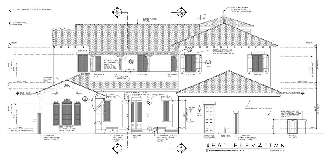 An illustrative representation of the house titled west elevation showing the various measurements for each part as seen from this vantage point.