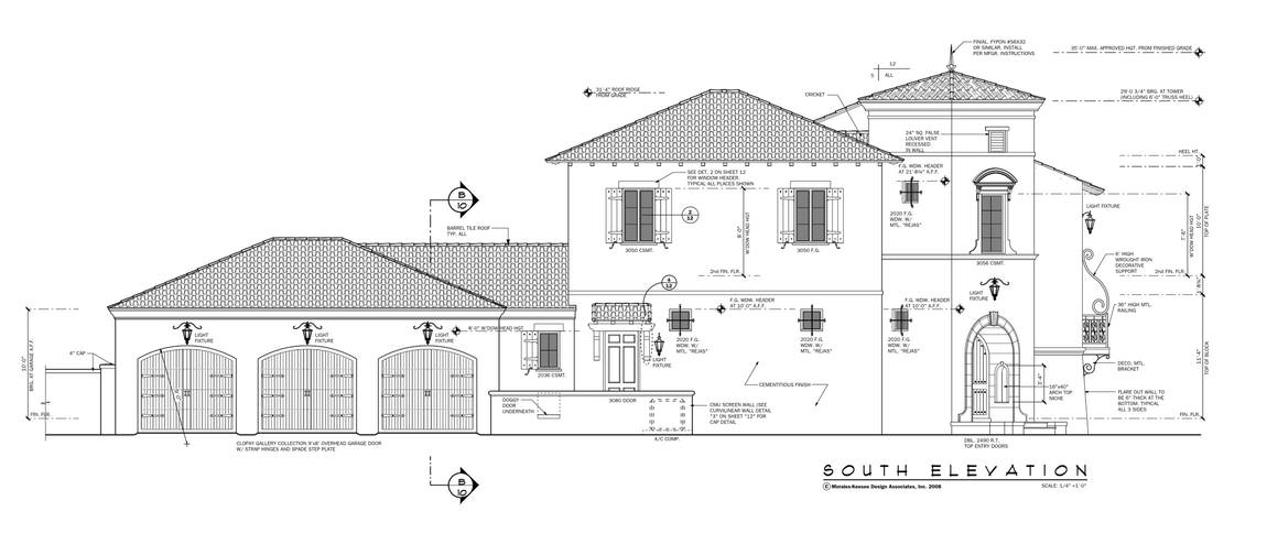 An illustrative representation of the house titled south elevation showing the various measurements for each part as seen from this vantage point.