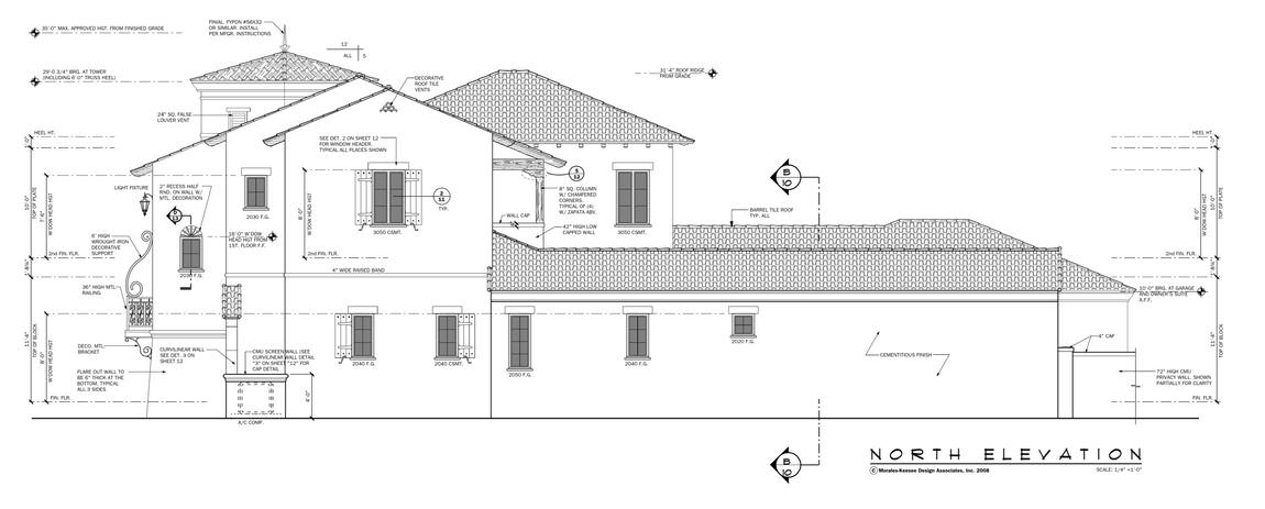 An illustrative representation of the house titled north elevation showing the various measurements for each part as seen from this vantage point.
