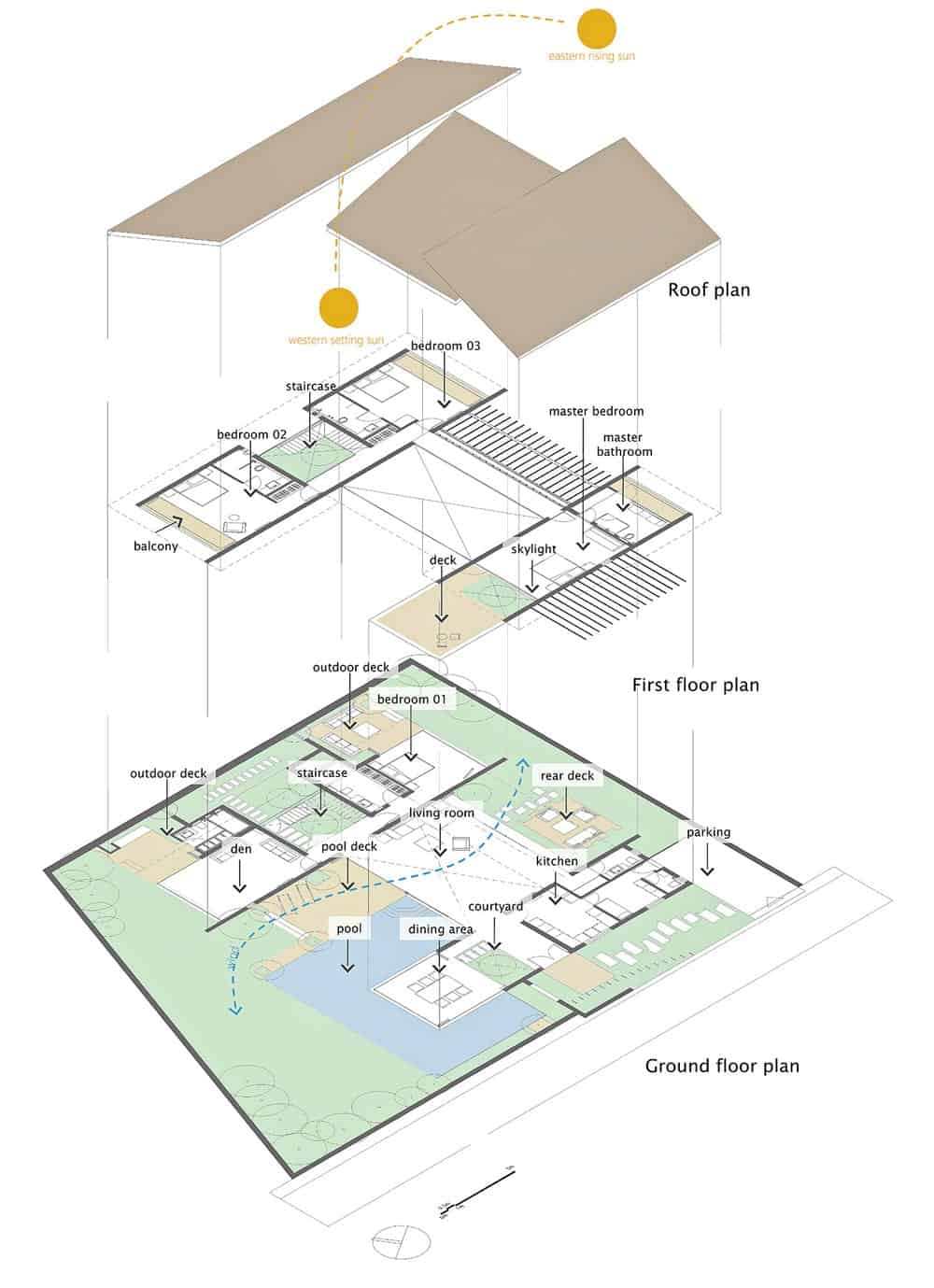 Floor and roof plans of the Monsoon Retreat designed by Abraham John Architects.