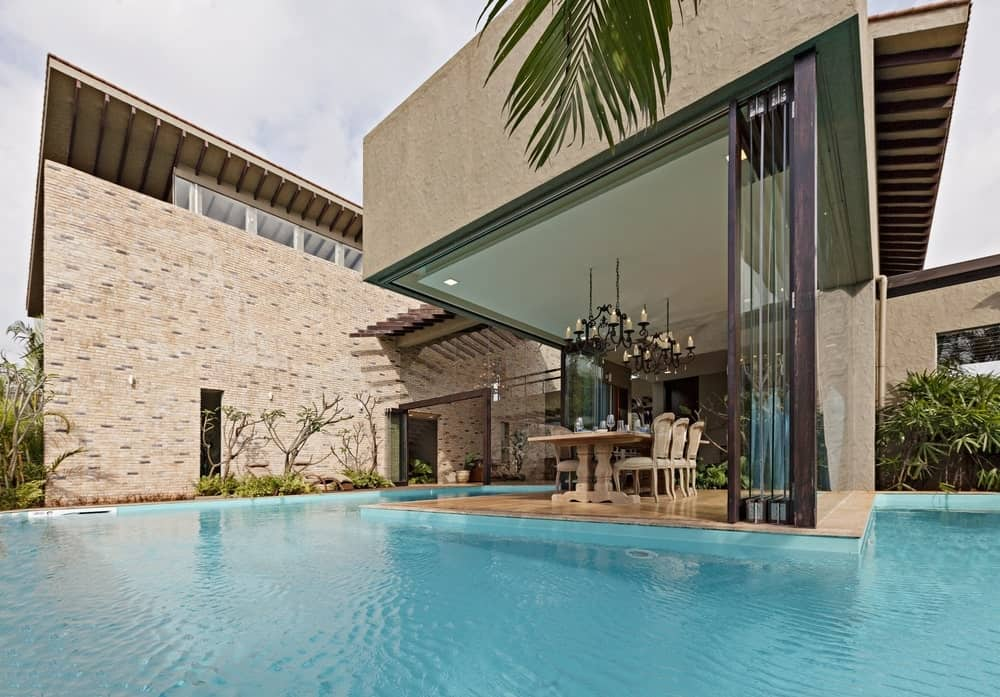 Wraparound pool in the Monsoon Retreat designed by Abraham John Architects.