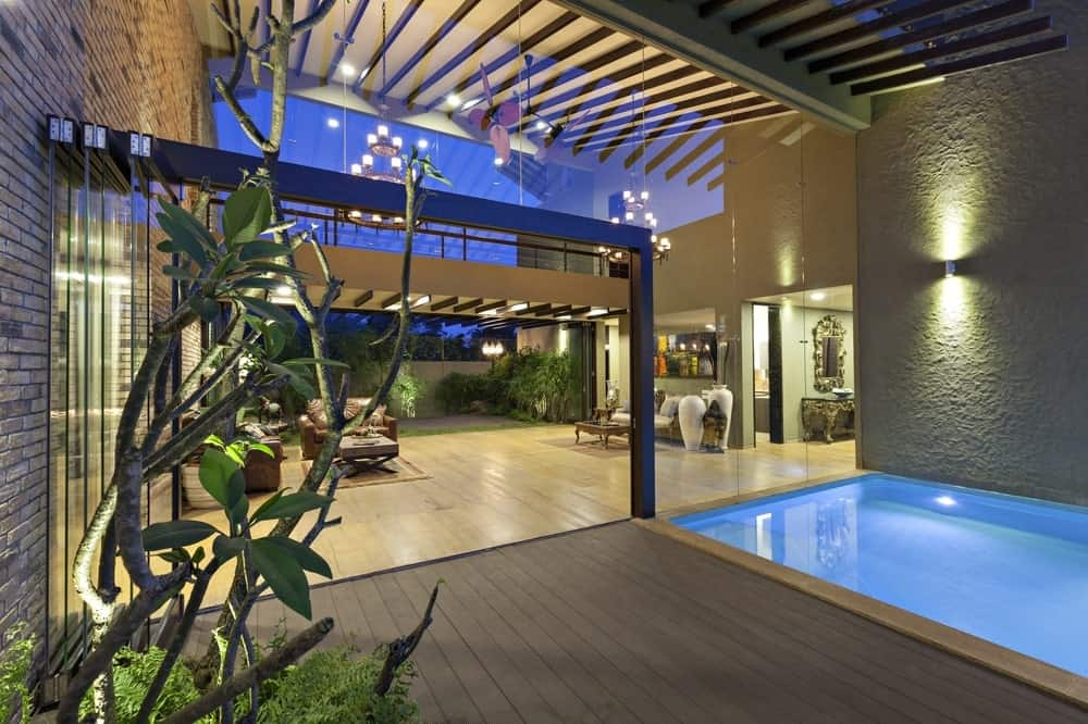 Pool deck in the Monsoon Retreat designed by Abraham John Architects.