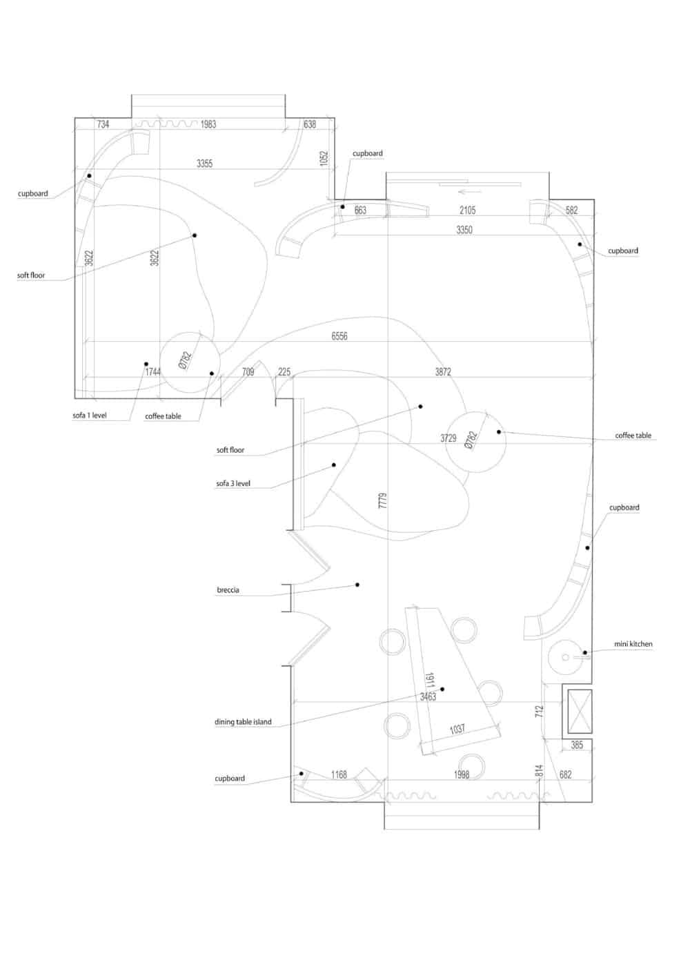 Floor plan of the Vidnoe Townhouse designed by Maxim Kashin Architects.