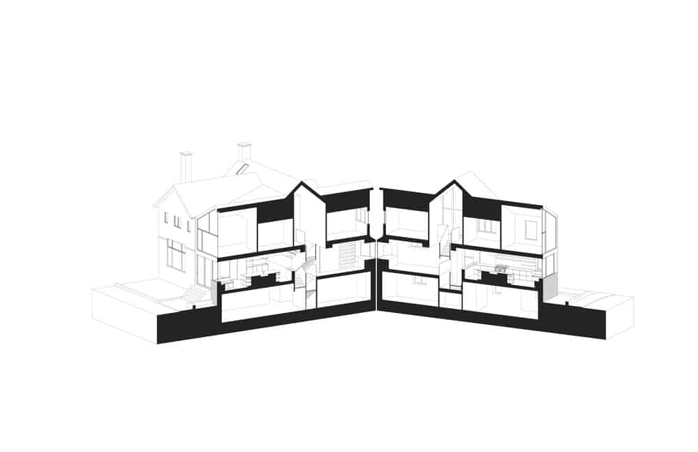 Perspective sketch of the Baby Point Residence by designed Batay-Csorba Architects.