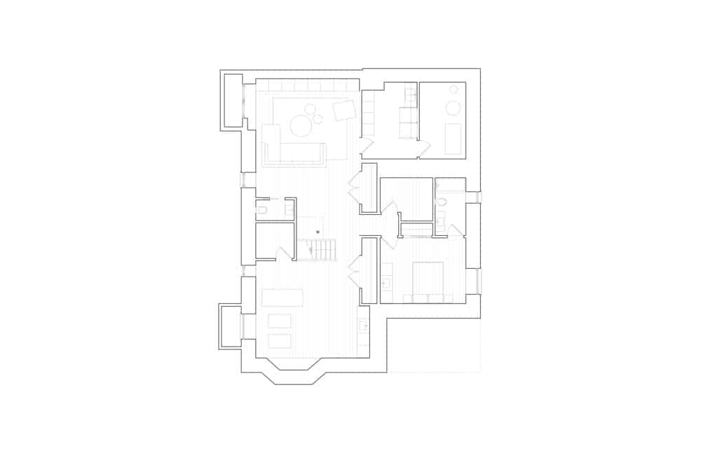 Main level floor plan of the Baby Point Residence by designed Batay-Csorba Architects.