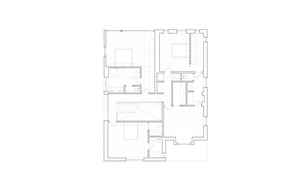 Second level floor plan of the Baby Point Residence by designed Batay-Csorba Architects.