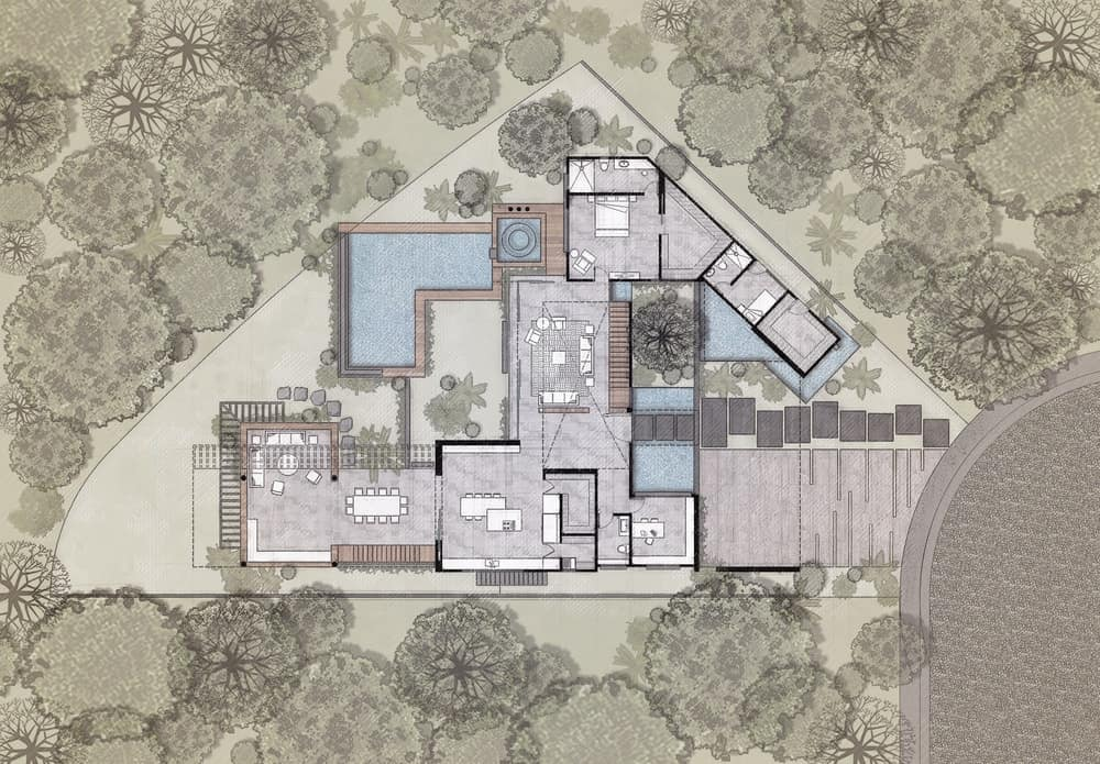 Main level floor plan of the Casa Kaleth designed by Di Frenna Arquitectos.