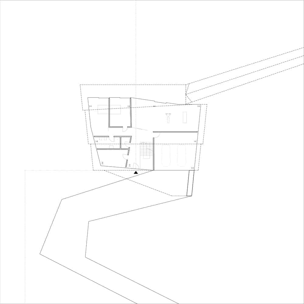 Ground level floor plan of the By The Way House designed by Robert Konieczny KWK Promes.