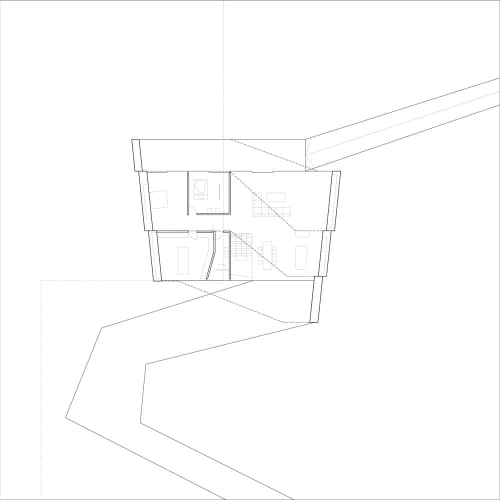 First level floor plan of the By The Way House designed by Robert Konieczny KWK Promes.