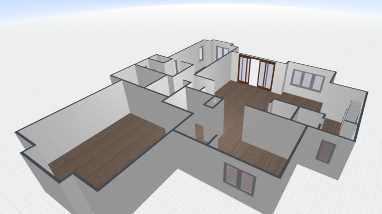 3D floor plan converted from 2D floor plan image