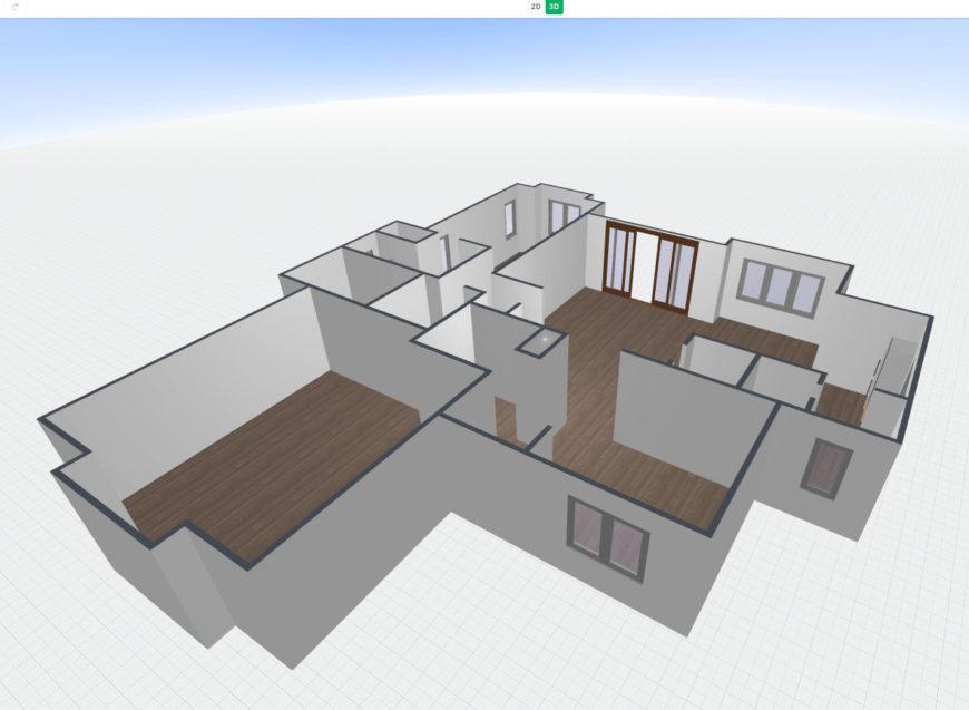 3D floor plan converted from 2D floor plan image