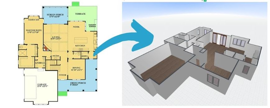 Example of 2D floor plan converted into 3D floor plan that you can edit