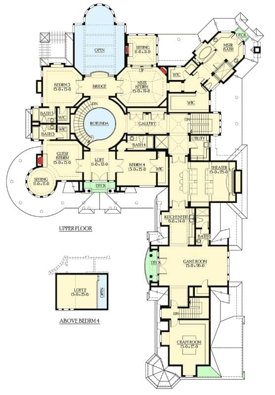 The upper level floor plan includes a grand primary suite, three bedrooms with their own walk-in closets and baths, a loft above the fourth bedroom, a home theater, game room, and a crafts room.